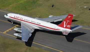 John Travolta's Qantas Boeing 707 pictured on November 18, 2010 in Sydney, Australia