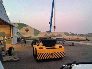 Захваченный вооруженными силами ЮАР после вынужденной посадки в Намибии 14.12.1988 истребитель МиГ-21бис (ангольский бортовой номер С340) ВВС Анголы (с) www.defenceweb.co.za